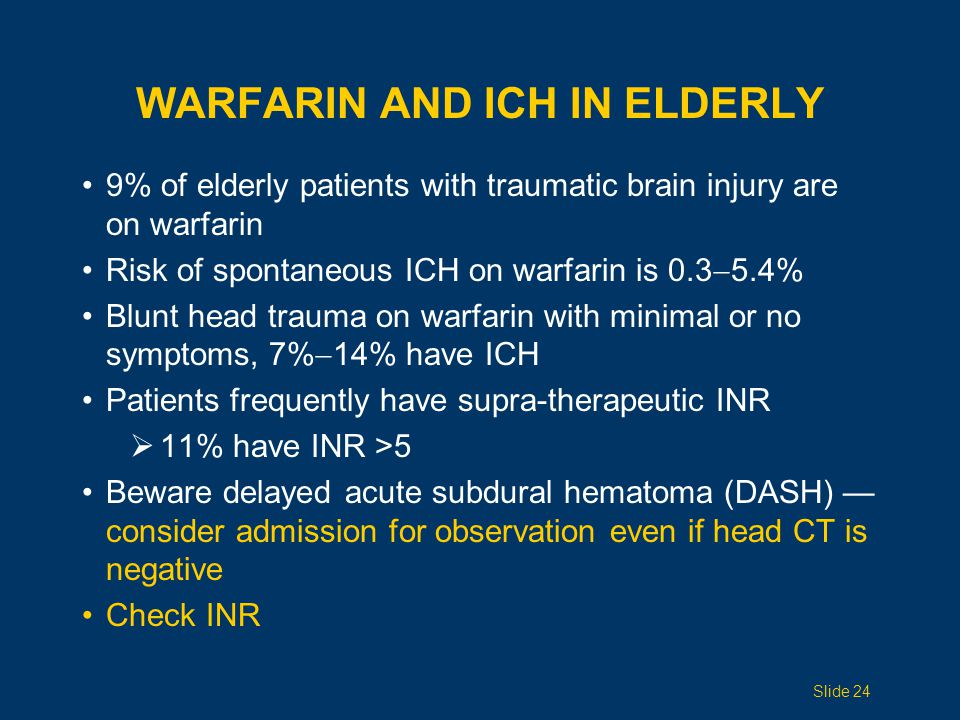 AGGRESSIVE COUMADIN PROTOCOL (1 of 2) Emergency department initiated new protocol for patients with suspected head trauma on warfarin  Immediate evaluation  Immediate head CT  Type & cross match  Thaw 2 units AB FFP If positive head CT  Transfuse FFP, Vitamin K IV, neurosurgery evaluation If negative head CT  Admit for observation Slide 25 Ivascu FA, et al.