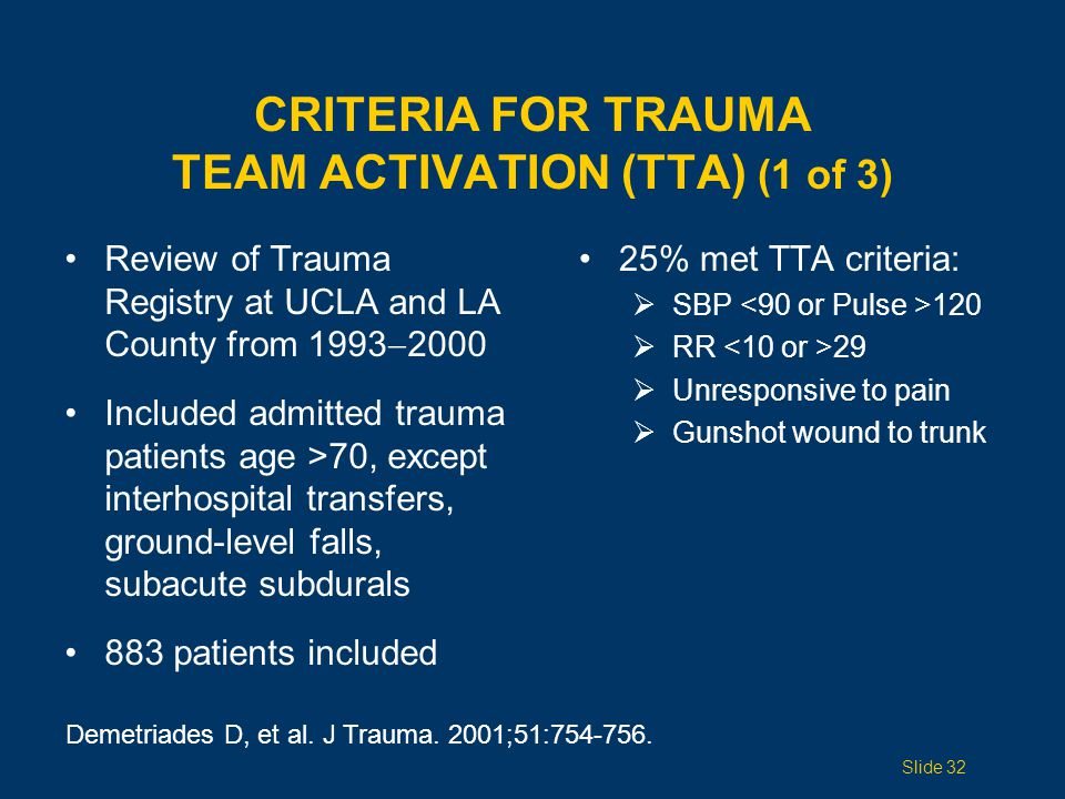 CRITERIA FOR TRAUMA TEAM ACTIVATION (TTA) (2 of 3) 63% of patients with severe injuries did not meet standard TTA criteria Among all patients who did not meet criteria, mortality was 16% Include age  70 years as TTA criterion.