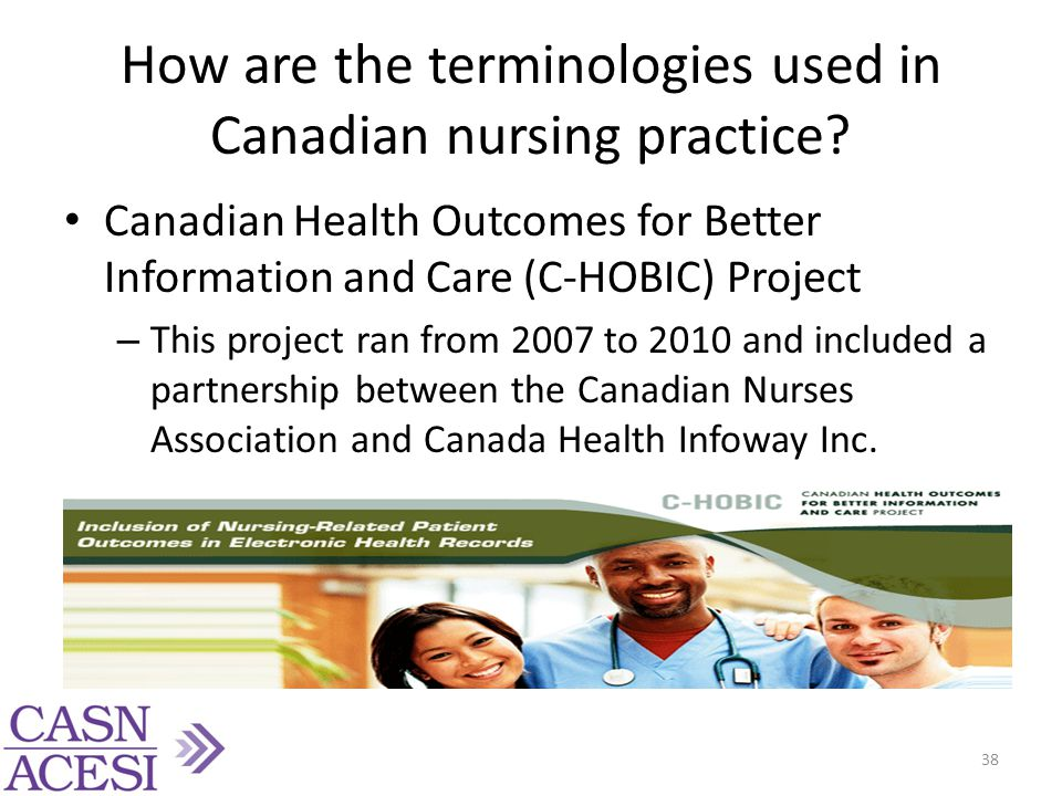How are the terminologies used in Canadian nursing practice? Canadian Health Outcomes for Better Information and Care (C-HOBIC) Project – This project