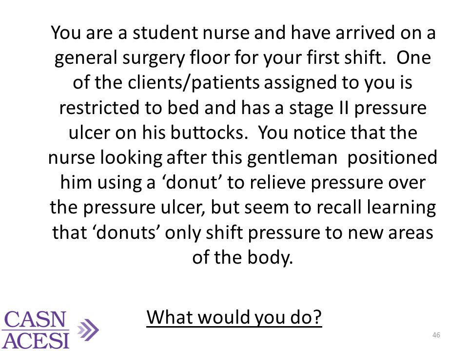 You are a student nurse and have arrived on a general surgery floor for your first shift.