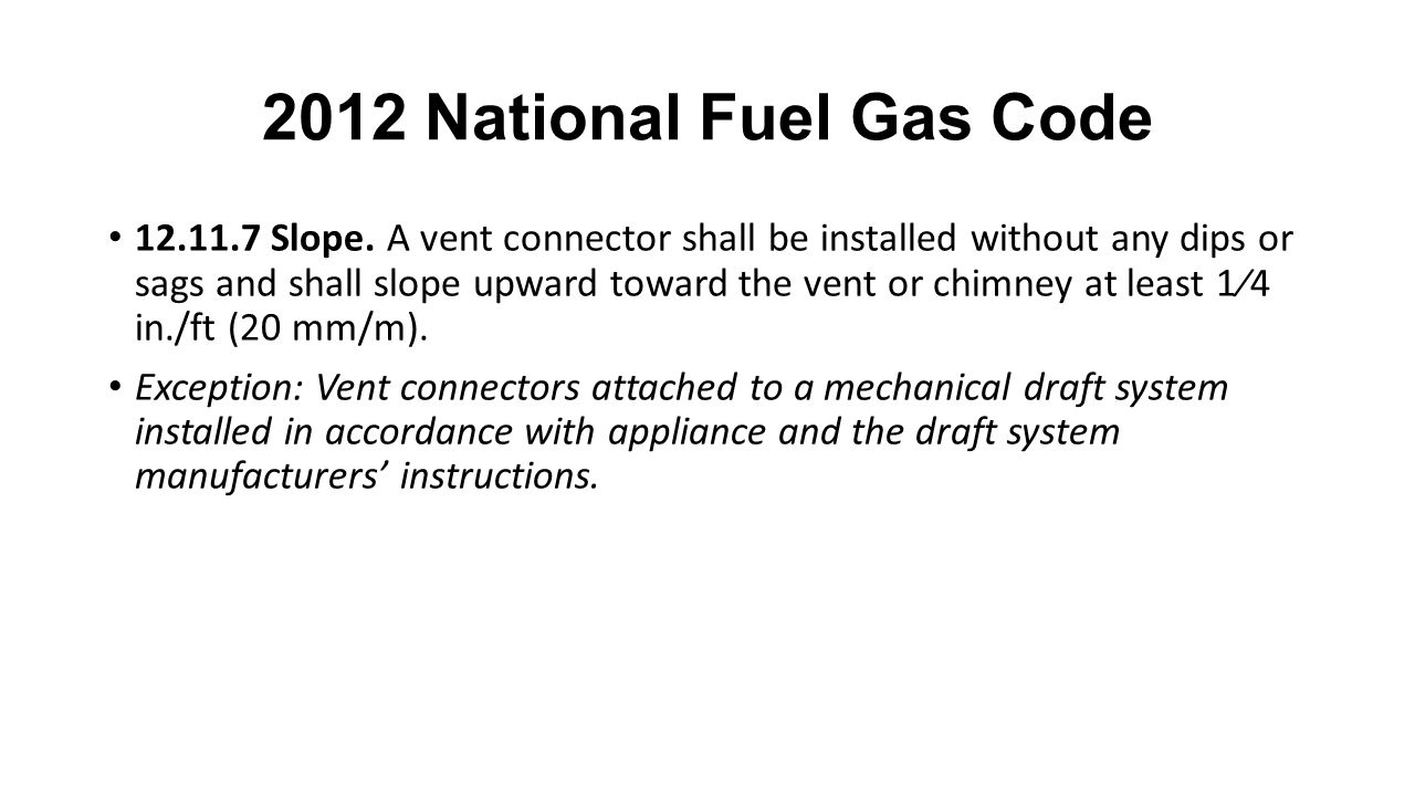 2012 National Fuel Gas Code 12.11.7 Slope.