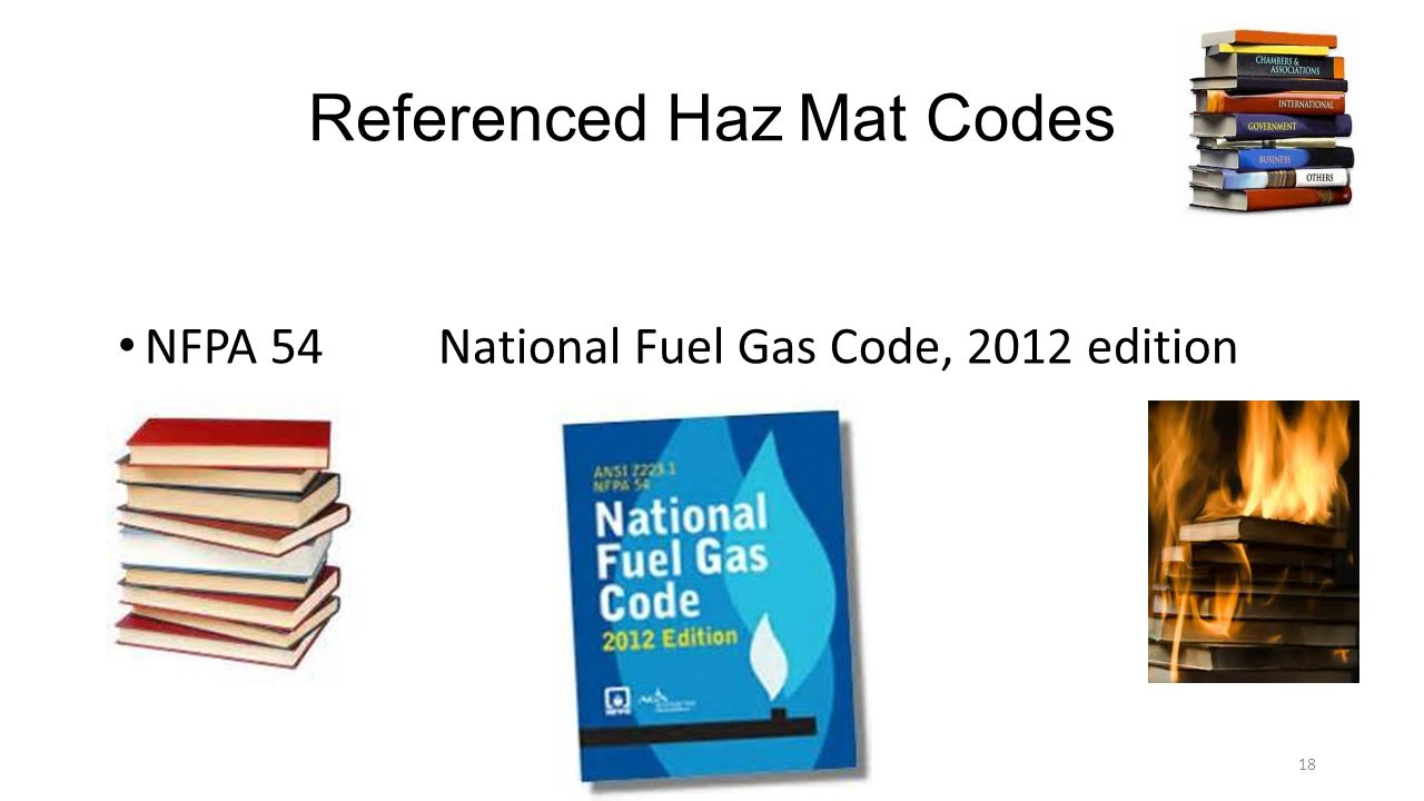 Referenced Haz Mat Codes NFPA 54 National Fuel Gas Code, 2012 edition 18