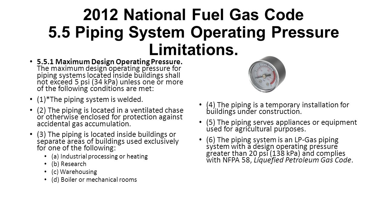 2012 National Fuel Gas Code 5.5 Piping System Operating Pressure Limitations.