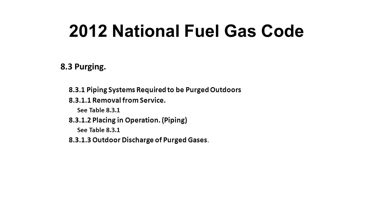 2012 National Fuel Gas Code 8.3 Purging.