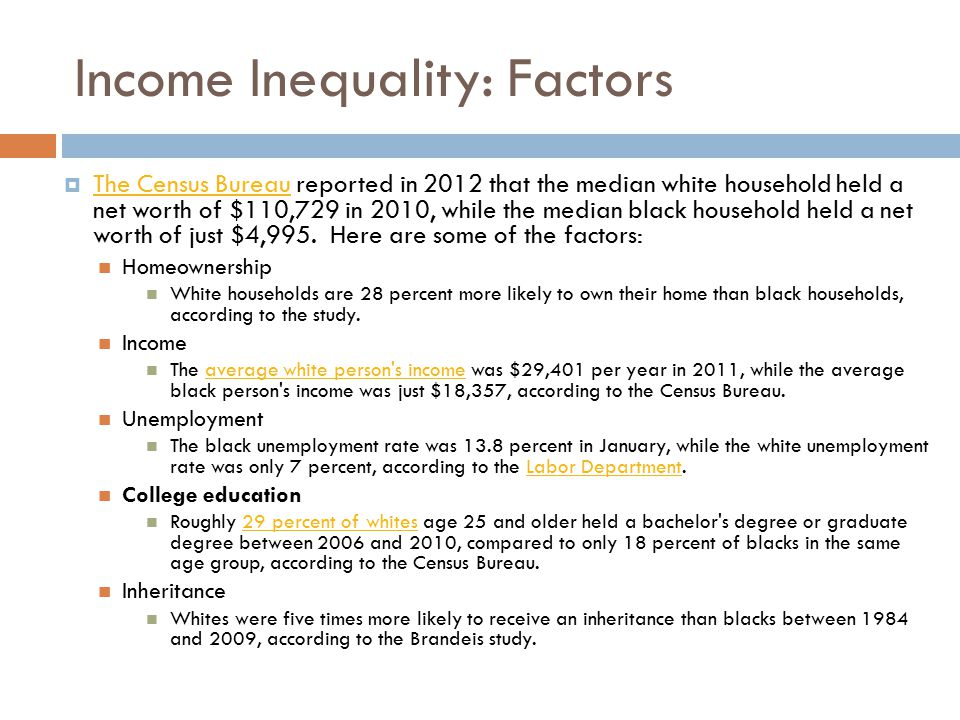 Underlying factors requiring policy action: Home ownership  Opportunities and barriers in workplaces, schools and communities that reinforce deeply entrenched racial dynamics in how wealth is accumulated.