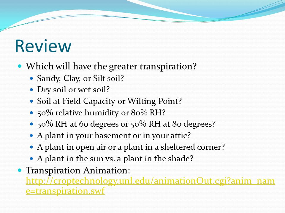 Review Which will have the greater transpiration? Sandy, Clay, or Silt soil? Dry soil or wet soil? Soil at Field Capacity or Wilting Point? 50% relati