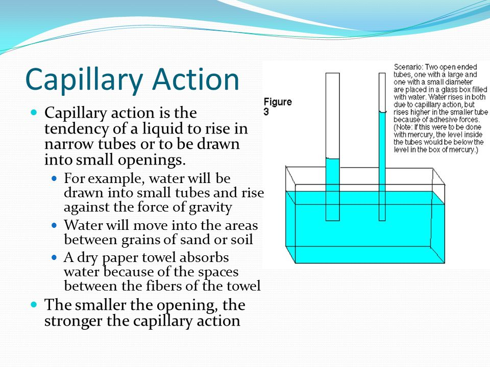 Capillary Action Capillary action is the tendency of a liquid to rise in narrow tubes or to be drawn into small openings. For example, water will be d