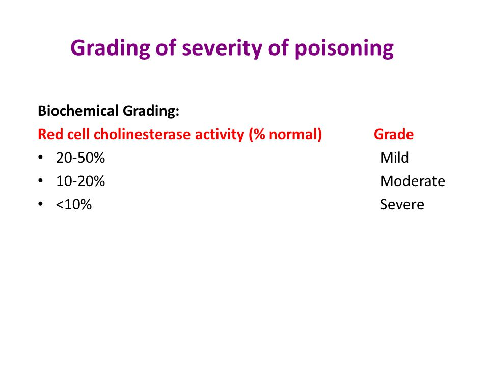 Grading of severity of poisoning Clinical grading: based on- 1.Miosis 2.Fasciculation 3.Respiratory Rate 4.Bradycardia 5.Level of consciousness *Mild(0-3), * Moderate(4-7), *Severe(8-11)