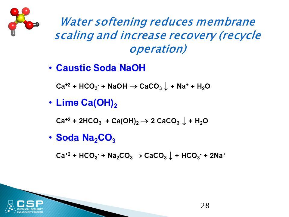 28 Caustic Soda NaOH Ca +2 + HCO 3 - + NaOH  CaCO 3 ↓ + Na + + H 2 O Lime Ca(OH) 2 Ca +2 + 2HCO 3 - + Ca(OH) 2  2 CaCO 3 ↓ + H 2 O Soda Na 2 CO 3 Ca
