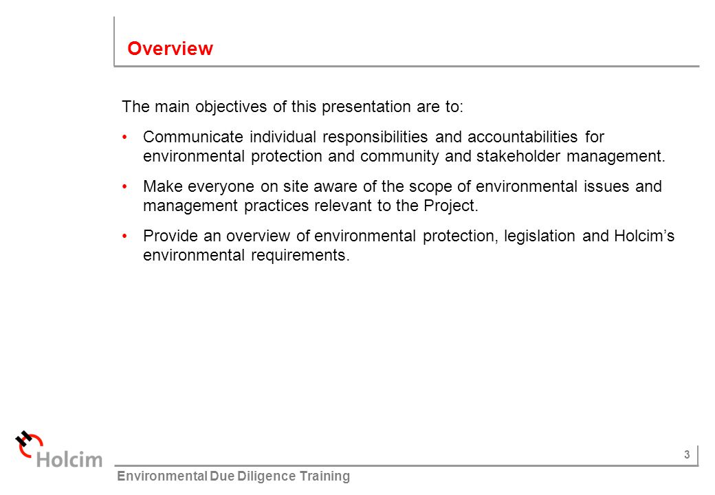 14 © Holcim (Australia) Pty Ltd Environmental Due Diligence Training What are your environmental responsibilities.