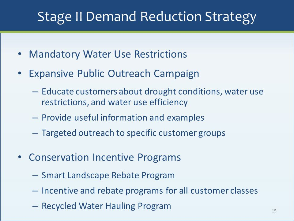 15 Mandatory Water Use Restrictions Expansive Public Outreach Campaign – Educate customers about drought conditions, water use restrictions, and water