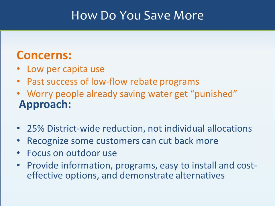 """Concerns: Low per capita use Past success of low-flow rebate programs Worry people already saving water get """"punished"""" 25% District-wide reduction, no"""