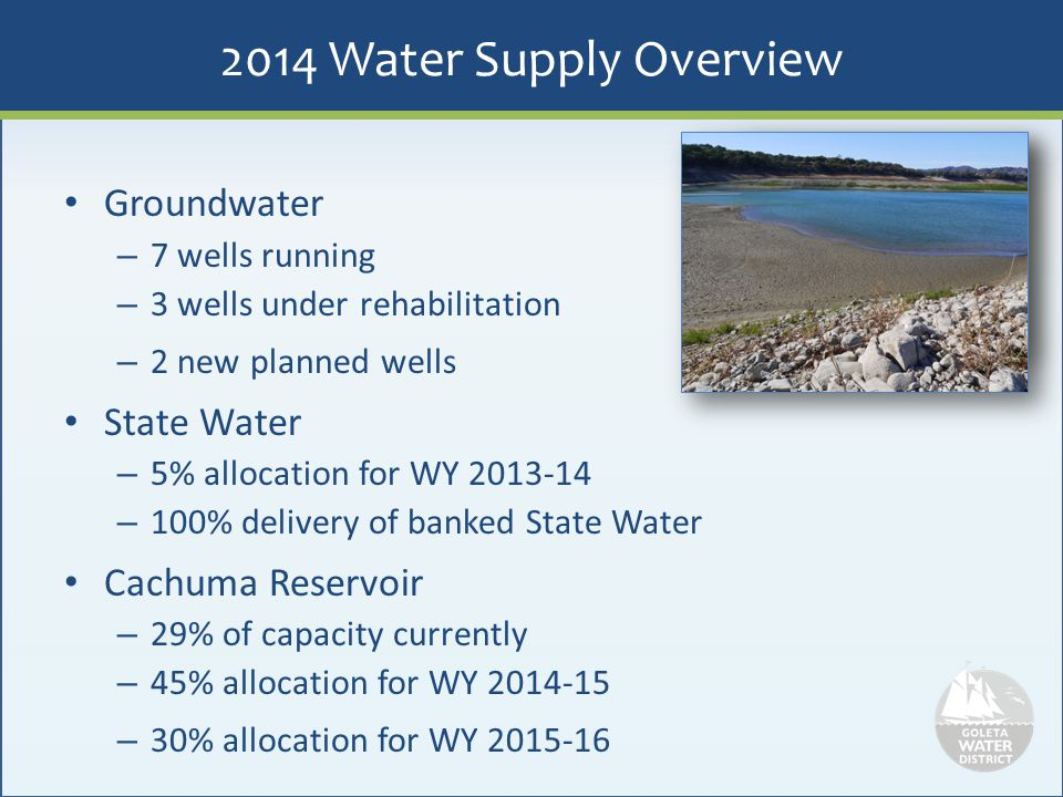 2014 Water Supply Overview Groundwater – 7 wells running – 3 wells under rehabilitation – 2 new planned wells State Water – 5% allocation for WY 2013-
