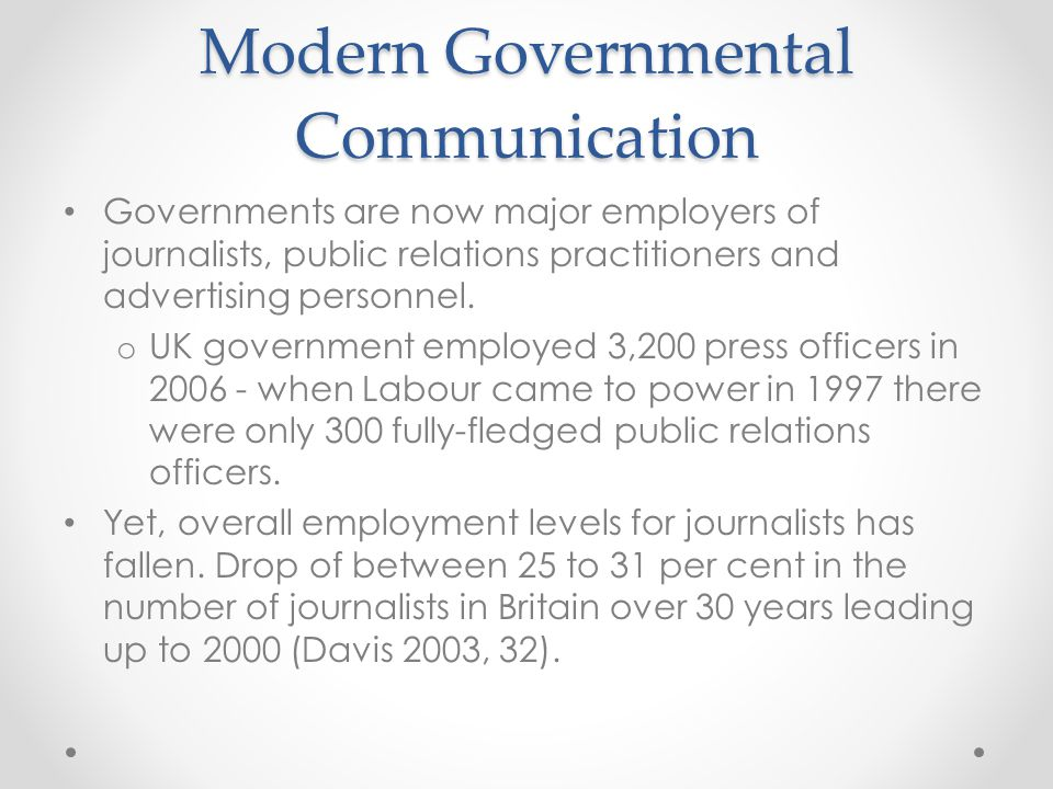 Modern Governmental Communication Employment in the U.S.