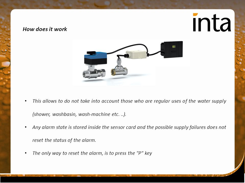 How does it work This allows to do not take into account those who are regular uses of the water supply (shower, washbasin, wash-machine etc...).