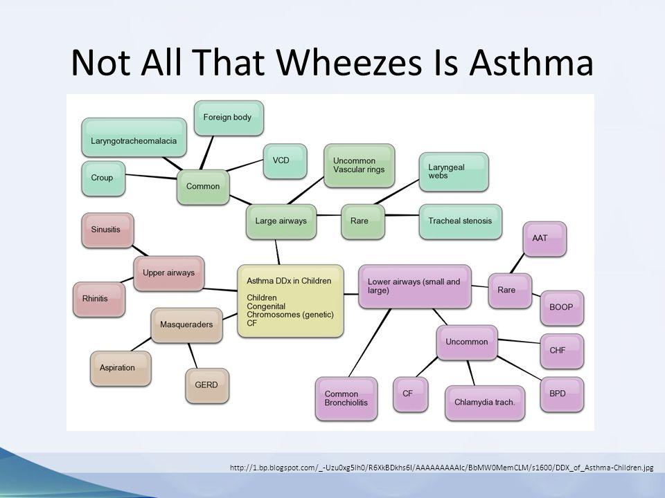 Not All That Wheezes Is Asthma http://1.bp.blogspot.com/_-Uzu0xg5lh0/R6XkBDkhs6I/AAAAAAAAAIc/BbMW0MemCLM/s1600/DDX_of_Asthma-Children.jpg