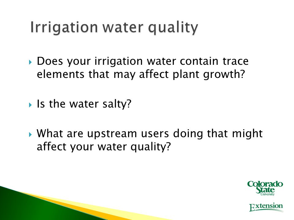  Does your irrigation water contain trace elements that may affect plant growth.