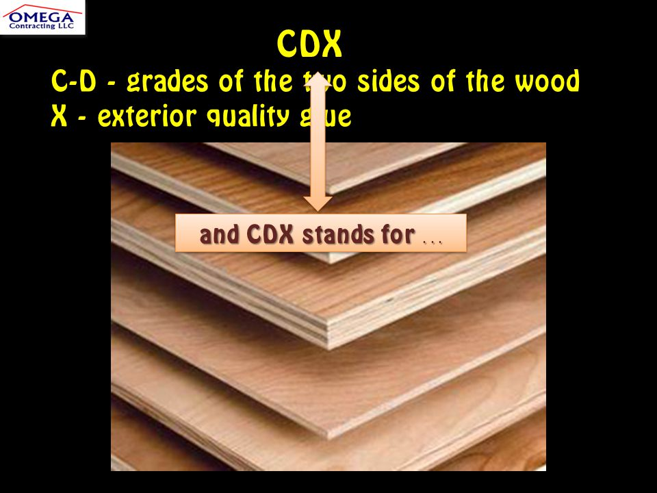 CDX C-D - grades of the two sides of the wood X - exterior quality glue and CDX stands for...