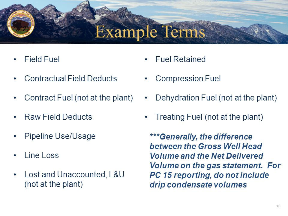 Office of Natural Resources Revenue Field Fuel Contractual Field Deducts Contract Fuel (not at the plant) Raw Field Deducts Pipeline Use/Usage Line Lo