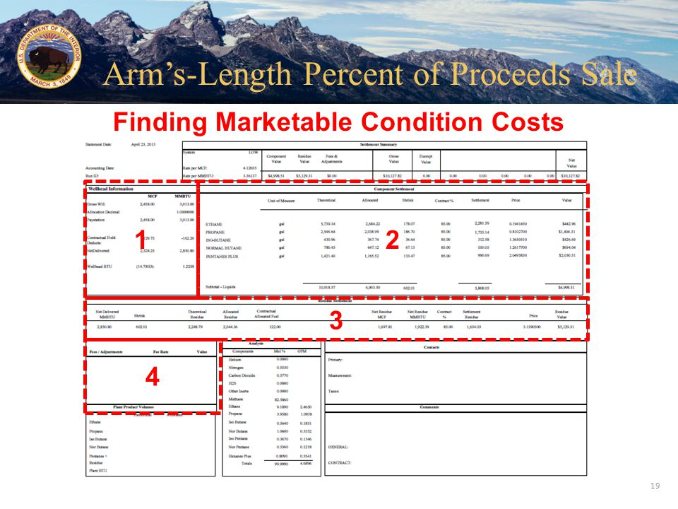 Office of Natural Resources Revenue 12 3 4 Finding Marketable Condition Costs 19 Arm's-Length Percent of Proceeds Sale
