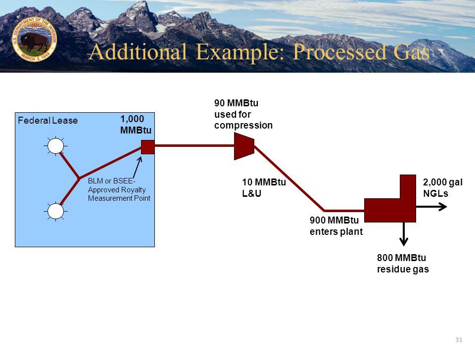 Office of Natural Resources Revenue Federal Lease 1,000 MMBtu 900 MMBtu enters plant 90 MMBtu used for compression 800 MMBtu residue gas 2,000 gal NGL