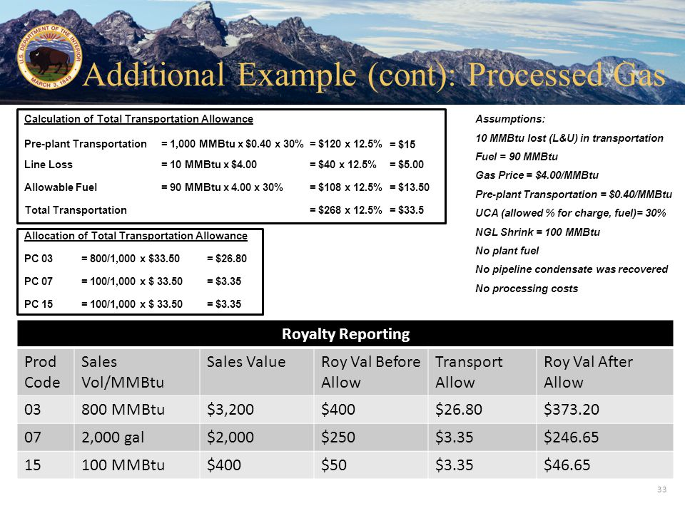 Office of Natural Resources Revenue Assumptions: 10 MMBtu lost (L&U) in transportation Fuel = 90 MMBtu Gas Price = $4.00/MMBtu Pre-plant Transportatio