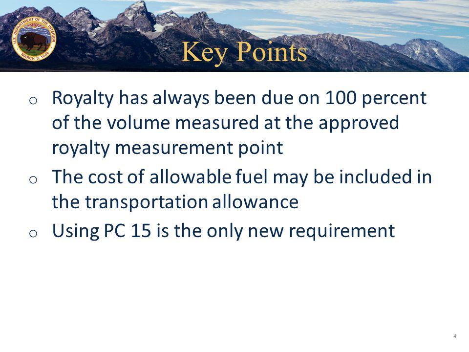 Office of Natural Resources Revenue Federal Lease Gas Well Royalty-bearing Volume 1,000 MMBtu Sales Volume 950 MMBtu BLM or BSEE- Approved Royalty Measurement Point Compressor Fuel 50 MMBtu Assumptions: Royalty Volume = 1,000 MMBtu Sales Volume = 950 MMBtu Compressor Fuel = 50 MMBtu Gas Sales Price = $4.00/MMBtu Transport Charge = $0.25/MMBtu UCA Fuel (allowed %)= 20% UCA Transport (allowed %) = 60% Royalty Reporting Product CodeSales MMBtuSales Value 041,000 MMbtu$4,000 15 Exercise: Unprocessed Gas – Downstream Sale