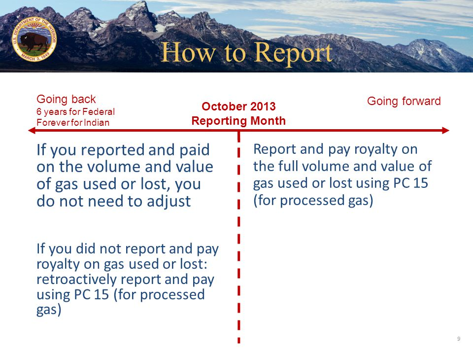 Office of Natural Resources Revenue October 2013 Reporting Month Going forward Going back 6 years for Federal Forever for Indian If you reported and p