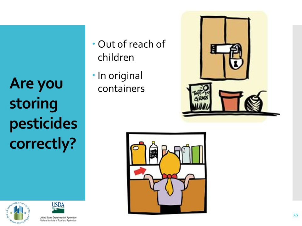 Are you storing pesticides correctly  Out of reach of children  In original containers 55