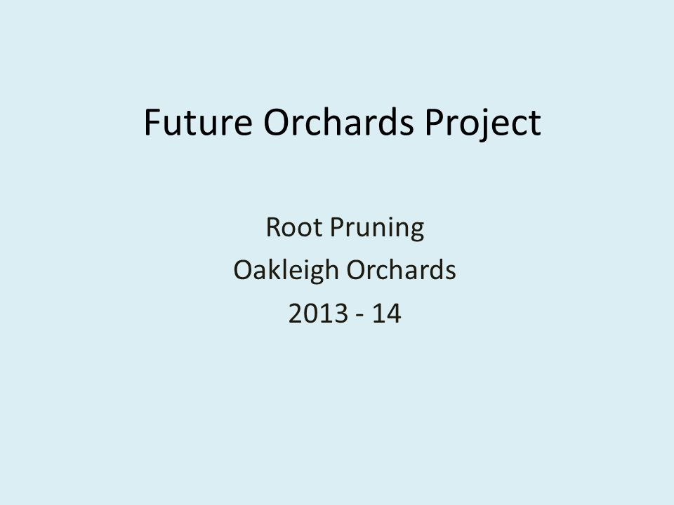 Future Orchards Project Root Pruning Oakleigh Orchards 2013 - 14
