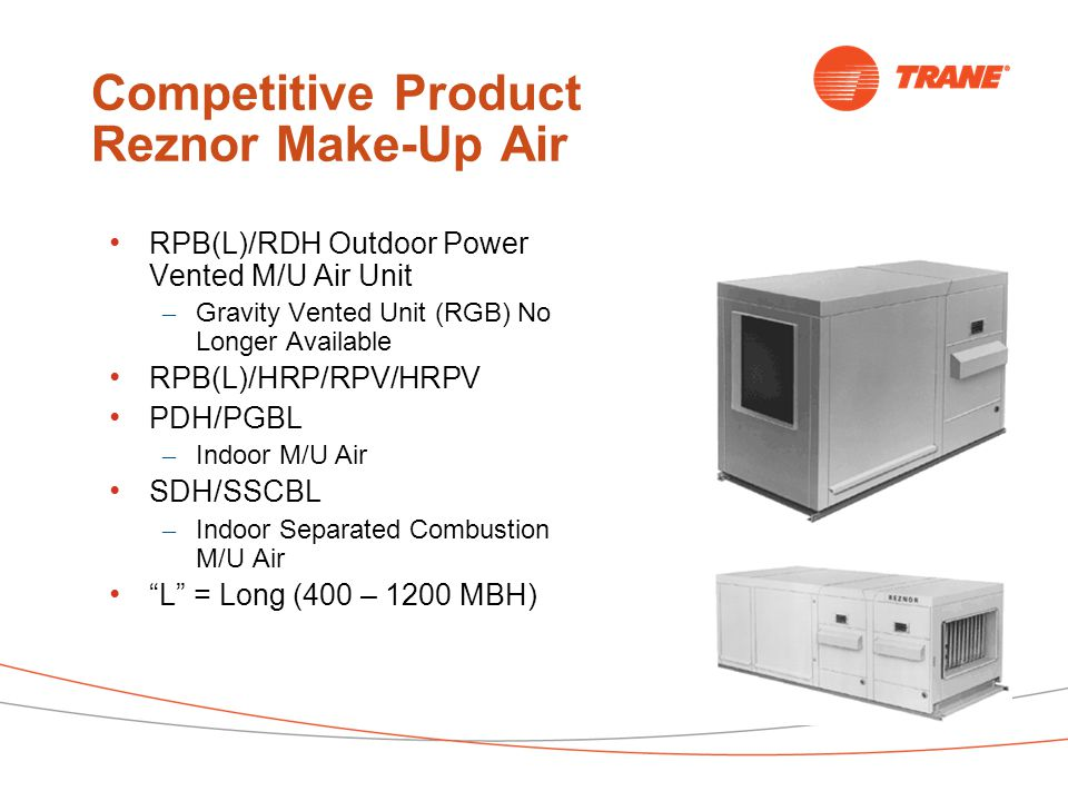 Competitive Product Reznor Make-Up Air RPB(L)/RDH Outdoor Power Vented M/U Air Unit – Gravity Vented Unit (RGB) No Longer Available RPB(L)/HRP/RPV/HRPV PDH/PGBL – Indoor M/U Air SDH/SSCBL – Indoor Separated Combustion M/U Air L = Long (400 – 1200 MBH)