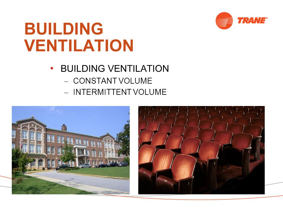 BUILDING VENTILATION – CONSTANT VOLUME – INTERMITTENT VOLUME