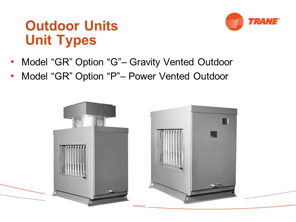 Outdoor Units Unit Types Model GR Option G – Gravity Vented Outdoor Model GR Option P – Power Vented Outdoor