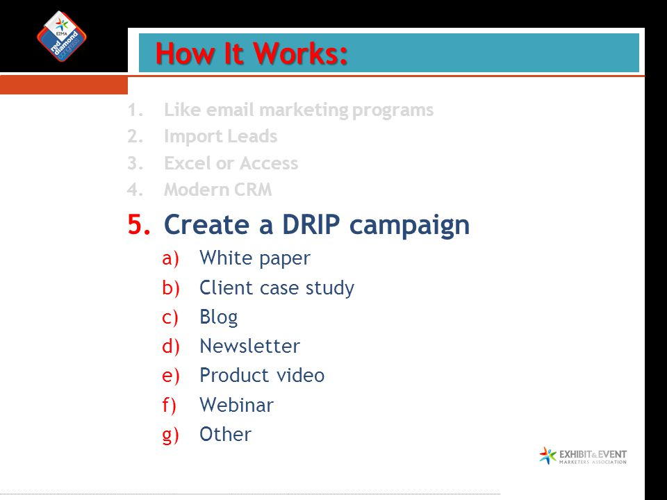 1.Like email marketing programs 2.Import Leads 3.Excel or Access 4.Modern CRM 5.Create a DRIP campaign a)White paper b)Client case study c)Blog d)Newsletter e)Product video f)Webinar g)Other How It Works: