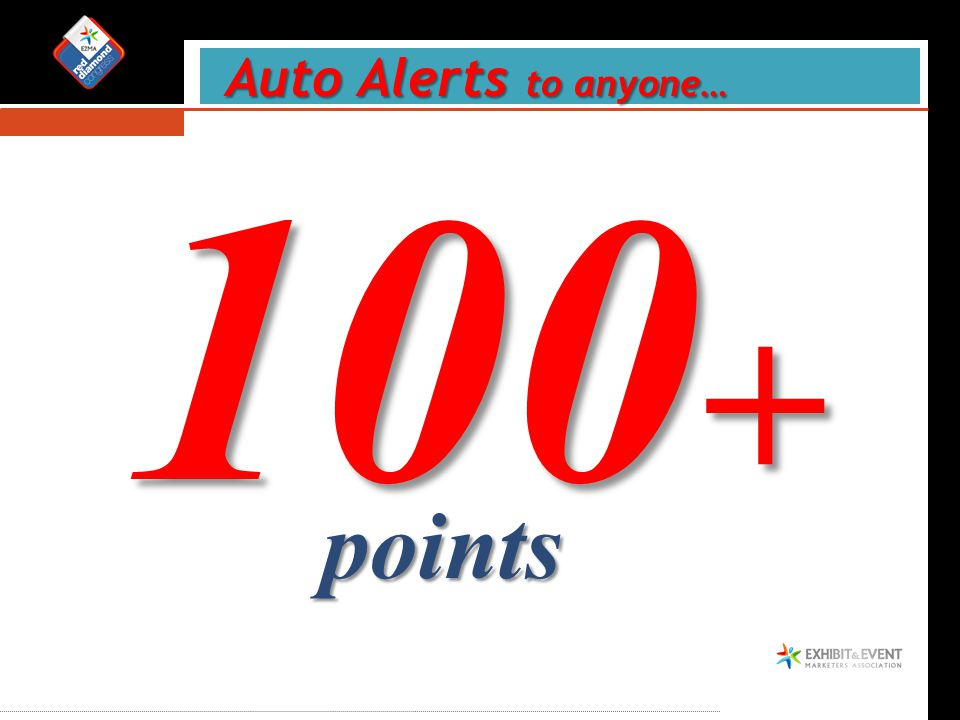 Auto Alerts to anyone… Auto Alerts to anyone… 100 + points