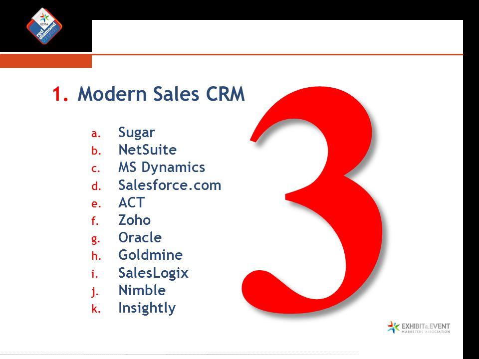 1.Modern Sales CRM a. Sugar b. NetSuite c. MS Dynamics d. Salesforce.com e. ACT f. Zoho g. Oracle h. Goldmine i. SalesLogix j. Nimble k. Insightly 3