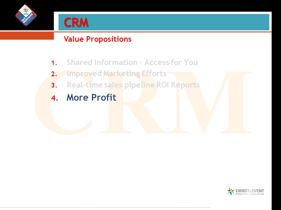 CRM 1. Shared Information – Access for You 2. Improved Marketing Efforts 3.