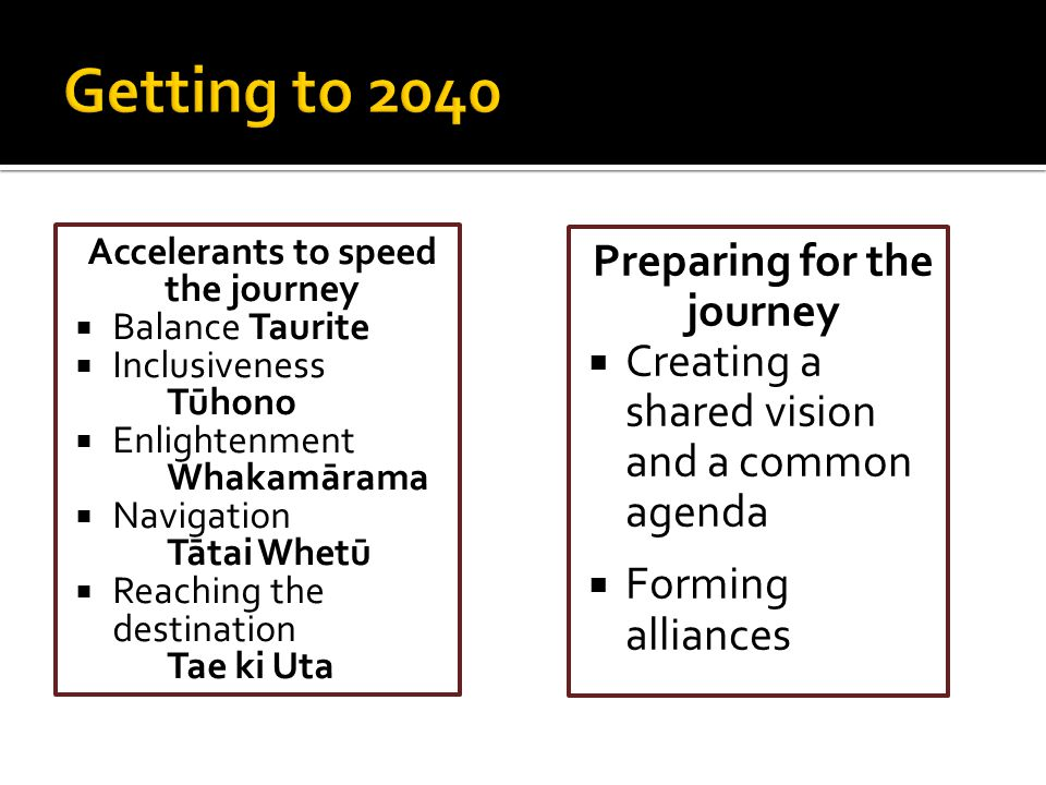 Accelerants to speed the journey  Balance Taurite  Inclusiveness Tūhono  Enlightenment Whakamārama  Navigation Tātai Whetū  Reaching the destinat