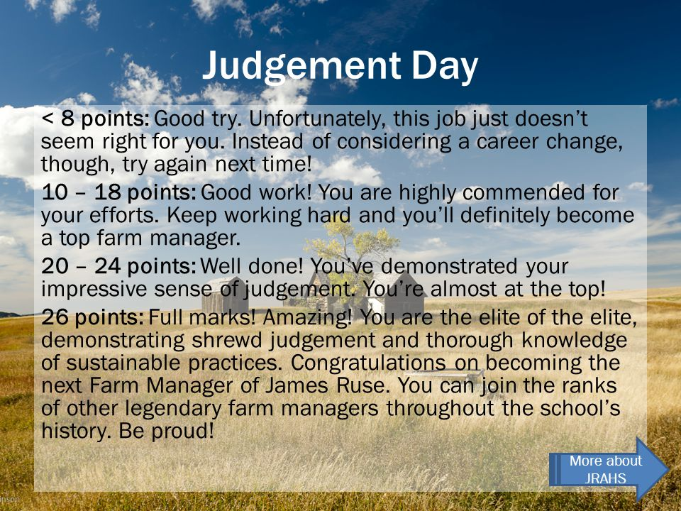 Judgement Day < 8 points: Good try. Unfortunately, this job just doesn't seem right for you.