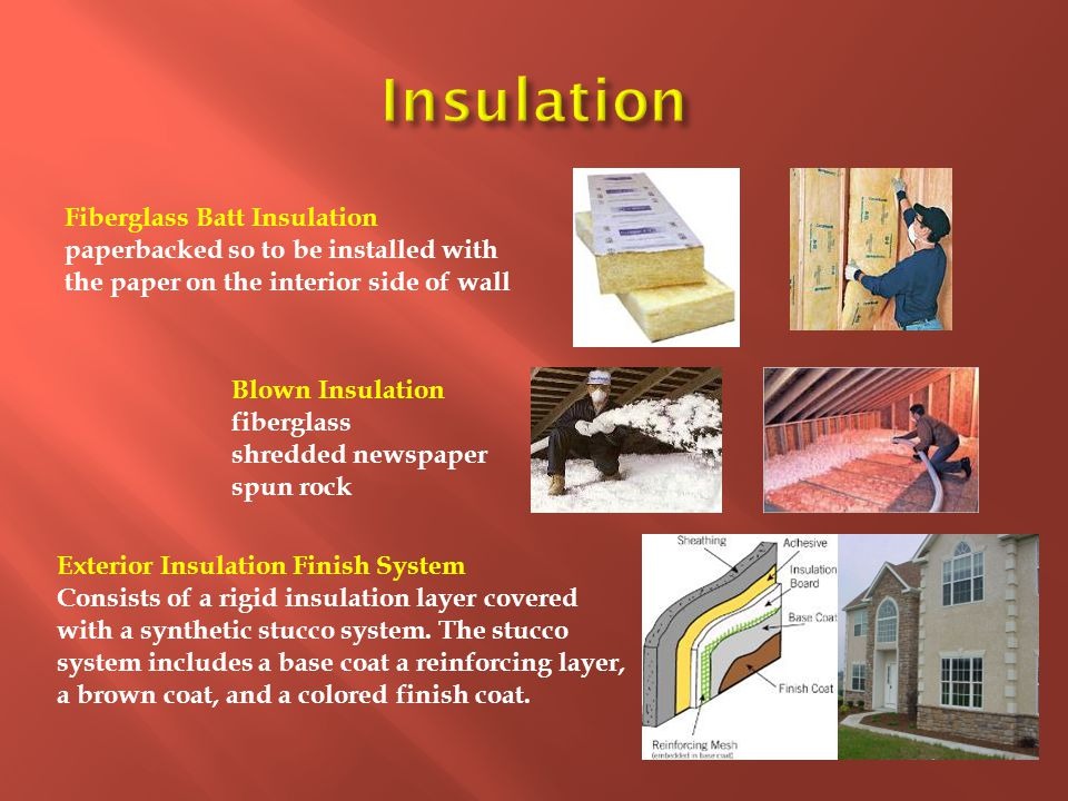 Fiberglass Batt Insulation paperbacked so to be installed with the paper on the interior side of wall Blown Insulation fiberglass shredded newspaper s