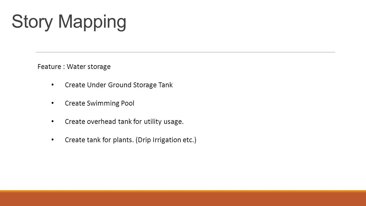 Story Mapping Feature : Water storage Create Under Ground Storage Tank Create Swimming Pool Create overhead tank for utility usage.