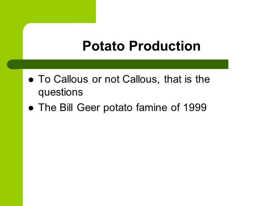 Potato Production To Callous or not Callous, that is the questions The Bill Geer potato famine of 1999