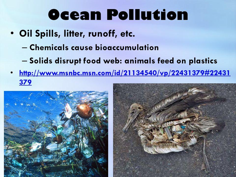 Ocean Pollution Oil Spills, litter, runoff, etc.