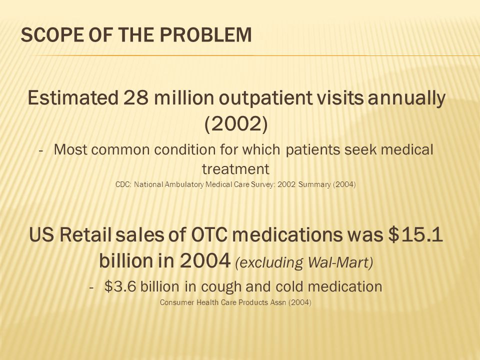 SCOPE OF THE PROBLEM Estimated 28 million outpatient visits annually (2002) - Most common condition for which patients seek medical treatment CDC: Nat
