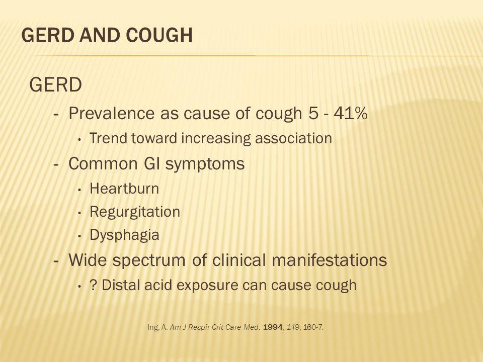 GERD AND COUGH GERD - Prevalence as cause of cough 5 - 41% Trend toward increasing association - Common GI symptoms Heartburn Regurgitation Dysphagia