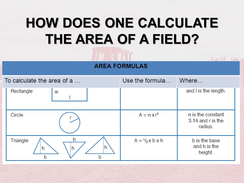 HOW DOES ONE CALCULATE THE AREA OF A FIELD? AREA FORMULAS To calculate the area of a …Use the formula…Where…