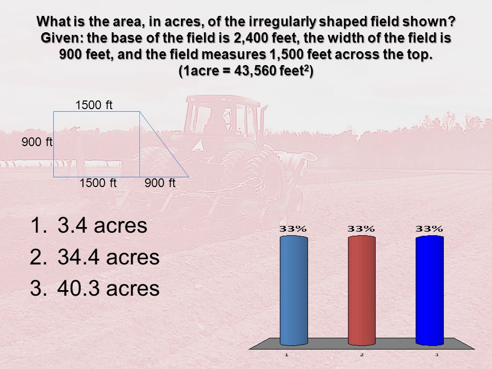 What is the area, in acres, of the irregularly shaped field shown? Given: the base of the field is 2,400 feet, the width of the field is 900 feet, and