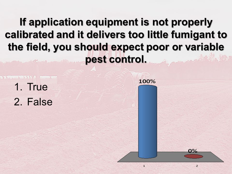 If application equipment is not properly calibrated and it delivers too little fumigant to the field, you should expect poor or variable pest control.