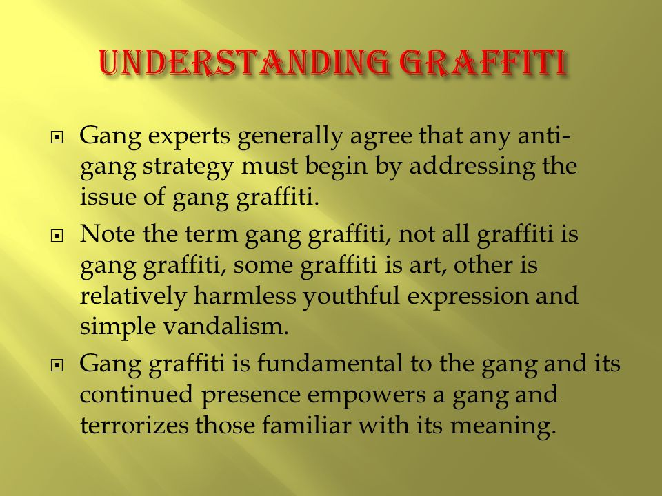  Gang experts generally agree that any anti- gang strategy must begin by addressing the issue of gang graffiti.