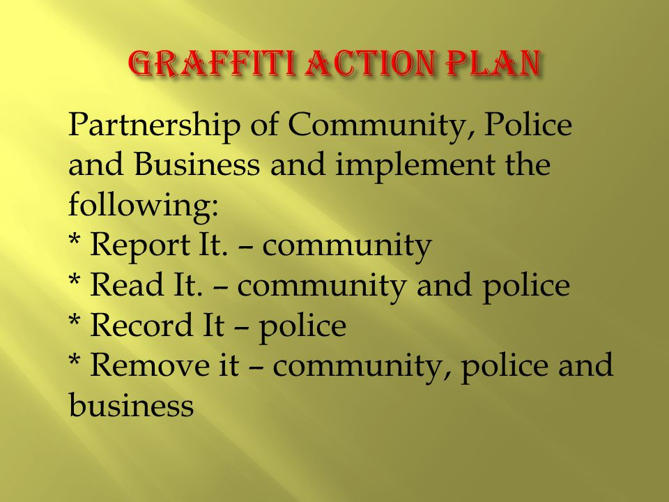 Partnership of Community, Police and Business and implement the following: * Report It.